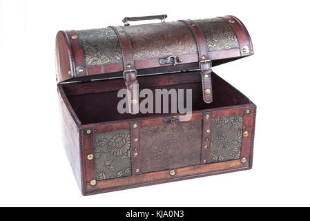 Retro Decorative Treasure Box from Wood. Trunk Chest on white background - Stock Photo