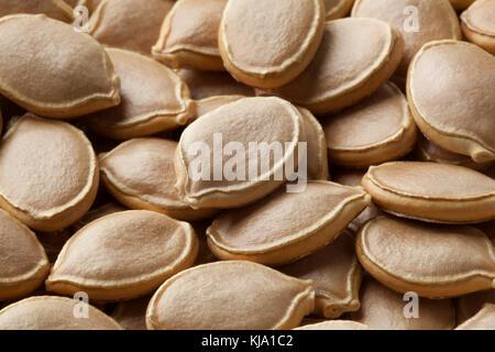 Dried pumpkin seeds close up full frame - Stock Photo