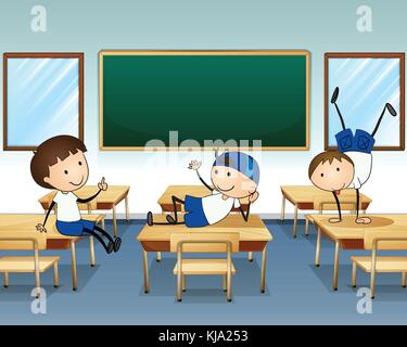 Illustration of the three boys playing inside the classroom - Stock Photo