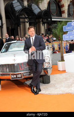 LONDON, ENGLAND - MAY 19: (NO FRANCE, NO UK) Russell Crowe arrives for the UK Premiere of 'The Nice Guys' at Odeon - Stock Photo