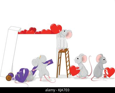 Hand drawn vector illustration of a team of small cute gray mice preparing a big love gift box with red hearts and - Stock Photo