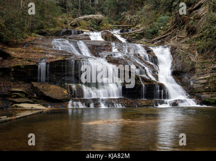 Panther Creek Falls is one of the larger as well as most beautiful waterfalls in northern Georgia.  They are approximately - Stock Photo