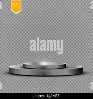 Realistic round white display podium isolated on transparent background. Perspective circle plinth, pillar, pedestal. - Stock Photo