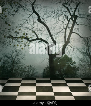Beautiful surreal background of trees and black and white checkered floor in a grungy style - Stock Photo