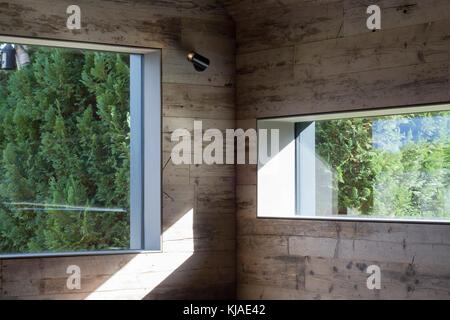 Interior detail of windows and reclaimed timber. Watson House Annexe, Brockenhurst, United Kingdom. Architect: Strom - Stock Photo