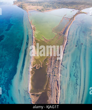 Amazing aerial drone image.Abstract nature in the water at the salt marshes of Lefkimmi.Corfu Greece - Stock Photo