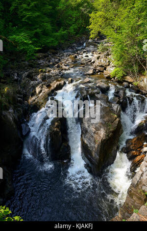 Black Linn Waterfall on the River Braan at The Hermitage near Dunkeld in Perthshire, Scotland - Stock Photo