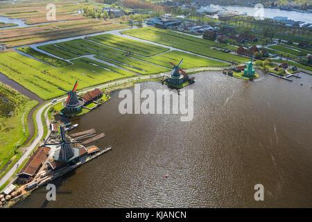 Aerial view of windmills in Zaanse Schans, Netherlands - Stock Photo