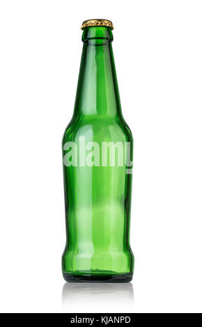 beer in a green bottle isolated on a white background with clipping path - Stock Photo