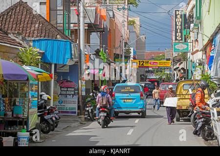 Street scene in the city Surakarta / Solo, Central Java, Indonesia - Stock Photo