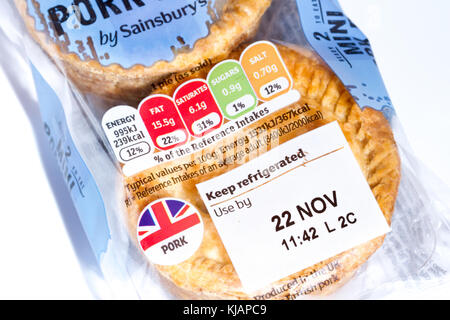 Use by date & nutritional information traffic light rating system on a pack of Sainsbury's 2 mini pork pies, United - Stock Photo