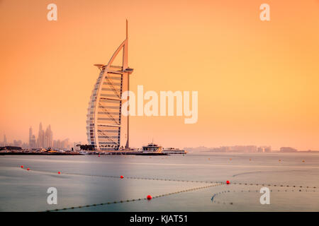 Dubai, UAE, June 7, 2016: view of world's famous Burj Al Arab Hotel at sunset - Stock Photo