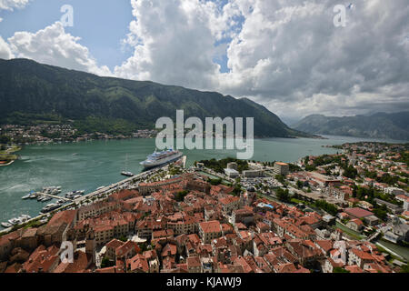 Panoramic view of the city of Kotor, Montenegro - Stock Photo