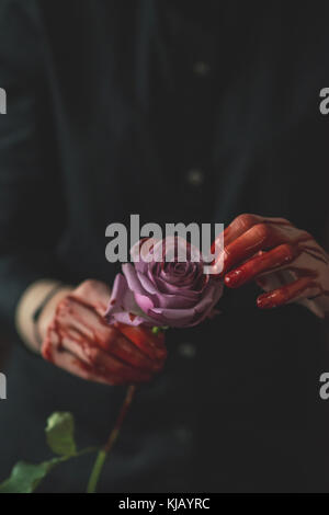 Bloody Pink Rose - Stock Photo