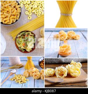Preparing different types of pasta in the kitchen. - Stock Photo