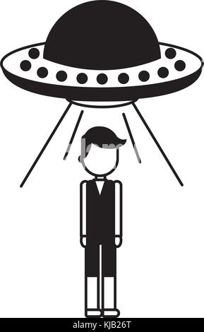 unidentified flying object abducting person - Stock Photo