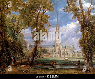 Salisbury Cathedral from the Bishops Grounds, John Constable, circa 1825, Metropolitan Museum of Art, Manhattan, - Stock Photo