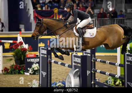 Amy Miller Canada riding Heros in the Longines FEI World Cup Show Jumping competition at the Royal Horse Show Toronto - Stock Photo