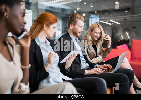 Business people conversation. Technology at hand - Stock Photo