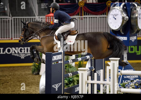 Kent Farrington USA riding Voyeur to victory in the Longines FEI World Cup Show Jumping competition at the Royal - Stock Photo