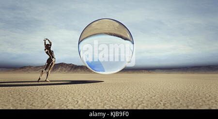 Futuristic woman watching floating sphere in desert - Stock Photo
