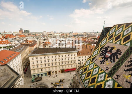 VIENNA, AUSTRIA - AUGUST 28:  St. Stephen's cathedral and aerial view over the cityscape of Vienna, Austria on August - Stock Photo