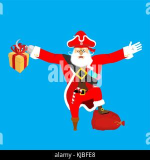 7dbb97c951400 ... Santa Claus pirate. Christmas buccaneer. Gift box. Hook and wooden leg.  New