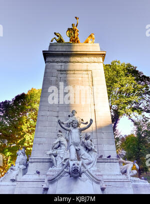 New York City - November 8, 2015: The USS Maine Monument at the southwest corner of Central Park in New York City. - Stock Photo