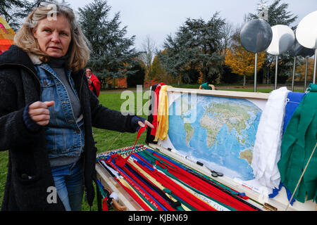 Bonn, Germany, November 14, 2017: German environmental activist in Bonn during COP23 Fiji conference. They plan - Stock Photo