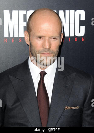 HOLLYWOOD, CA - AUGUST 22:  Jason Statham  arrives at the Premiere Of Summit Entertainment's 'Mechanic: Resurrection' - Stock Photo
