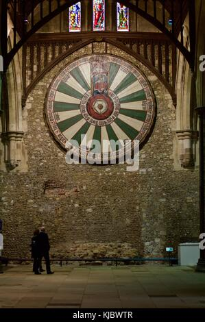 Round Table hanging in Great Hall of Winchester Castle, Winchester, UK - Stock Photo