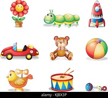 Illustration of the different kinds of toys for children on a white background - Stock Photo