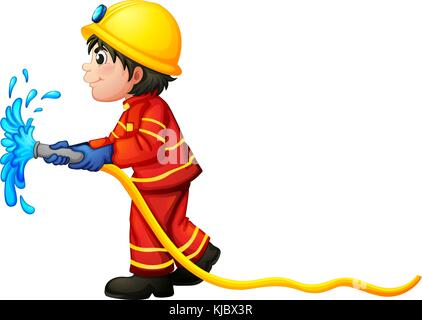 Illustration of a fireman holding a water hose on a white background - Stock Photo