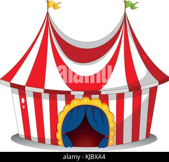 Illustration of a circus tent on a white background - Stock Photo