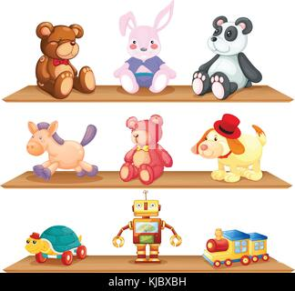 Illustration of the wooden shelves with different toys on a white background - Stock Photo