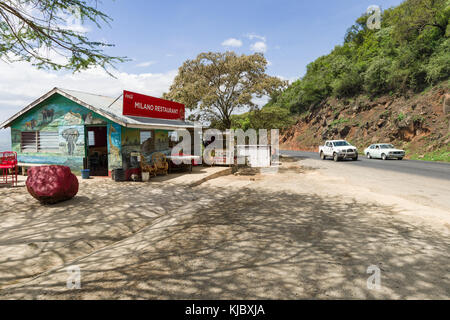 Local roadside restaurant rest stop with viewpoint looking over the Rift Valley, Kenya, East Africa - Stock Photo