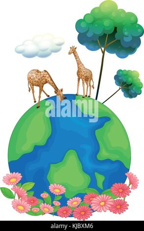 Illustration of the two giraffes above the earth on a white background - Stock Photo