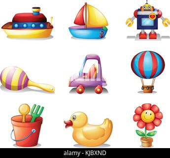 Illustration of the different kinds of toys on a white background - Stock Photo