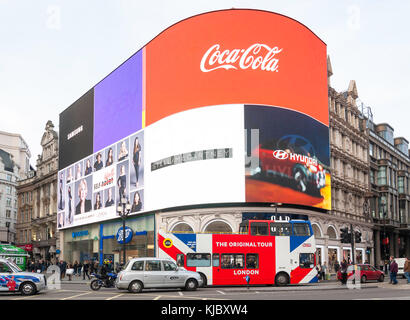 Neon signs in Piccadilly Circus, Piccadilly, West End, City of Westminster, Greater London, England, United Kingdom - Stock Photo