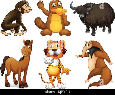 Illustration of the six different kinds of four-legged animals on a white background - Stock Photo