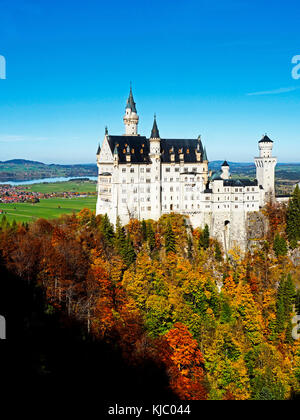 Mad King Ludwig's Neuschwanstein Castle in Bavaria, Germany. - Stock Photo