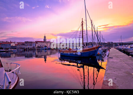 Historic island town of Krk dawn waterfront view, Kvarner bay archipelago of Croatia - Stock Photo