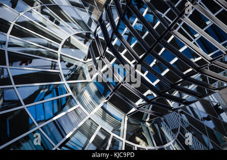 Transparent glass cupola and mirrors, above the Parliament  building in Berlin, Germany. - Stock Photo