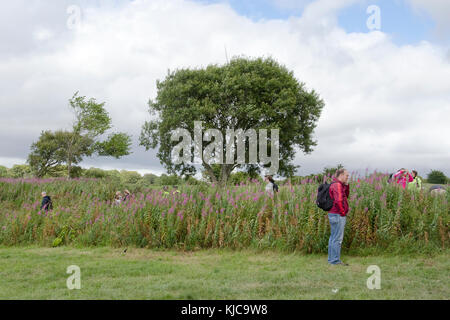 GLASGOW, SCOTLAND - JULY 29 2014: Mountain biking fans are taking a break while they wait for the race to start. - Stock Photo