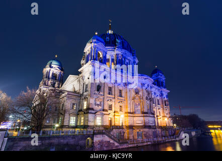 The main church Berliner Dom (Berlin, Germany), a landmark, is lit in colors at night during the Festival of Lights, - Stock Photo