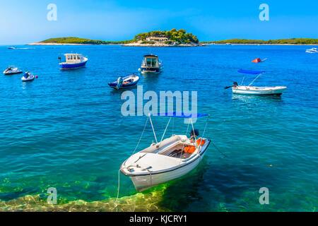Mediterranean seascape at Paklinski Islands in front of town Hvar, Croatia. - Stock Photo