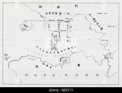 Map of Hong Kong in First Convention of Peking in 1860 - Stock Photo