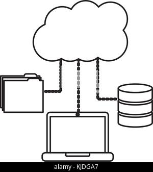 laptop computer connection cloud folder and data base technology - Stock Photo
