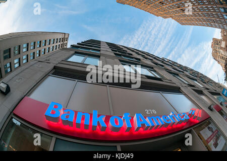 A branch of Bank of America in New York on Tuesday, November 21, 2017.  (© Richard B. Levine) - Stock Photo