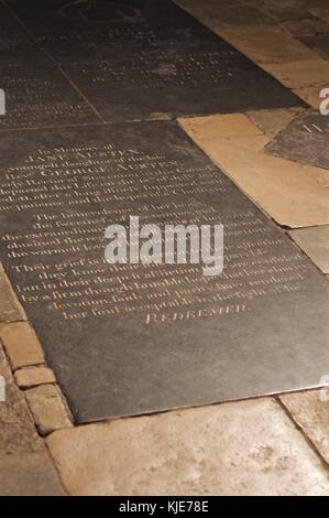 Gravestone of novelist Jane Austen in Winchester Cathedral, Winchester, UK - Stock Photo